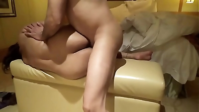 anal sex with my beloved indian wife on sofa usign side position with oil